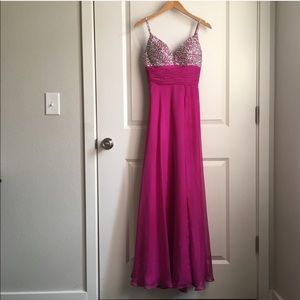 Mac Duggal Pink and Silver Beaded & leg slit dress